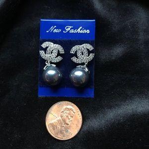 Crystal Pearl CC Drop Earrings